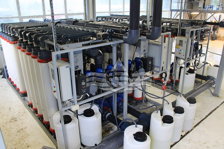Собранный модуль установки ультрафильтрации воды